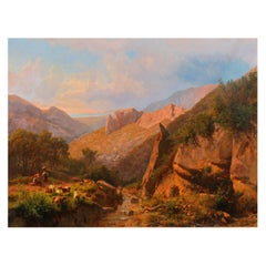 Large Italian Mountain Landscape Painting Andreas Marko