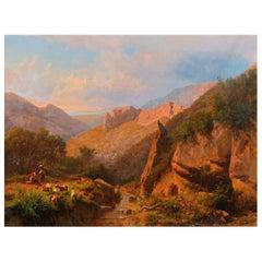 Large Italian Mountain Landscape Painting