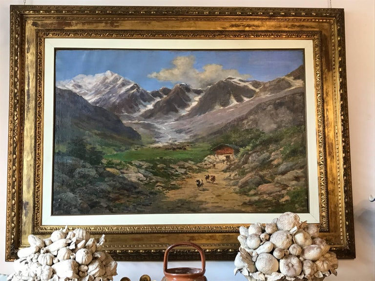 Large Italian Landscape Early 20th Century Mountain Painting by Silvio Poma  For Sale 11