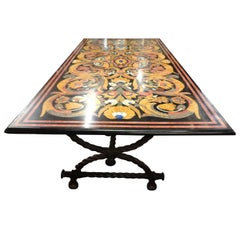 Large Italian Multicolored Inlaid Marble Table on Iron Base