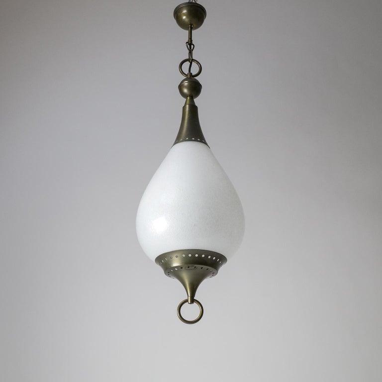 Large Italian Murano Glass and Brass Pendant, circa 1960 For Sale 6