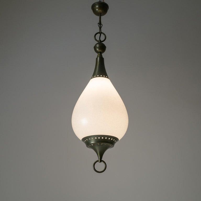 Large Italian Murano Glass and Brass Pendant, circa 1960 For Sale 7