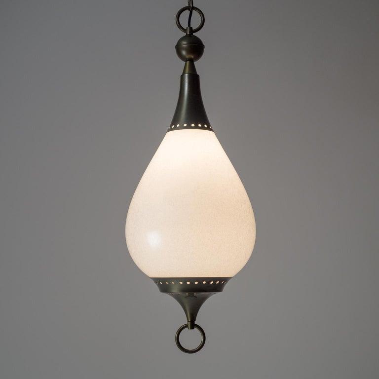 Large Italian Murano Glass and Brass Pendant, circa 1960 For Sale 8