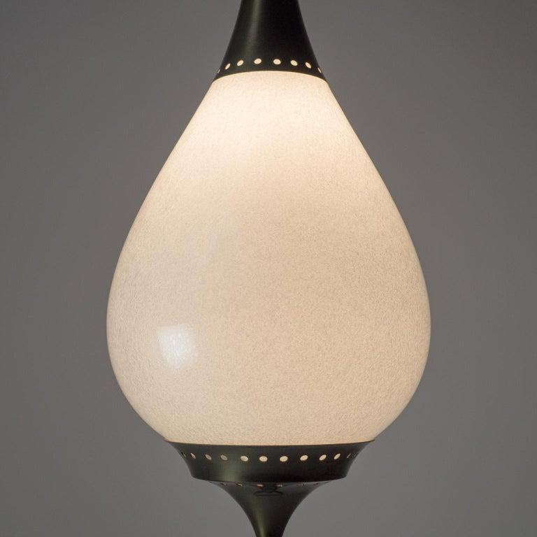 Large Italian Murano Glass and Brass Pendant, circa 1960 For Sale 9