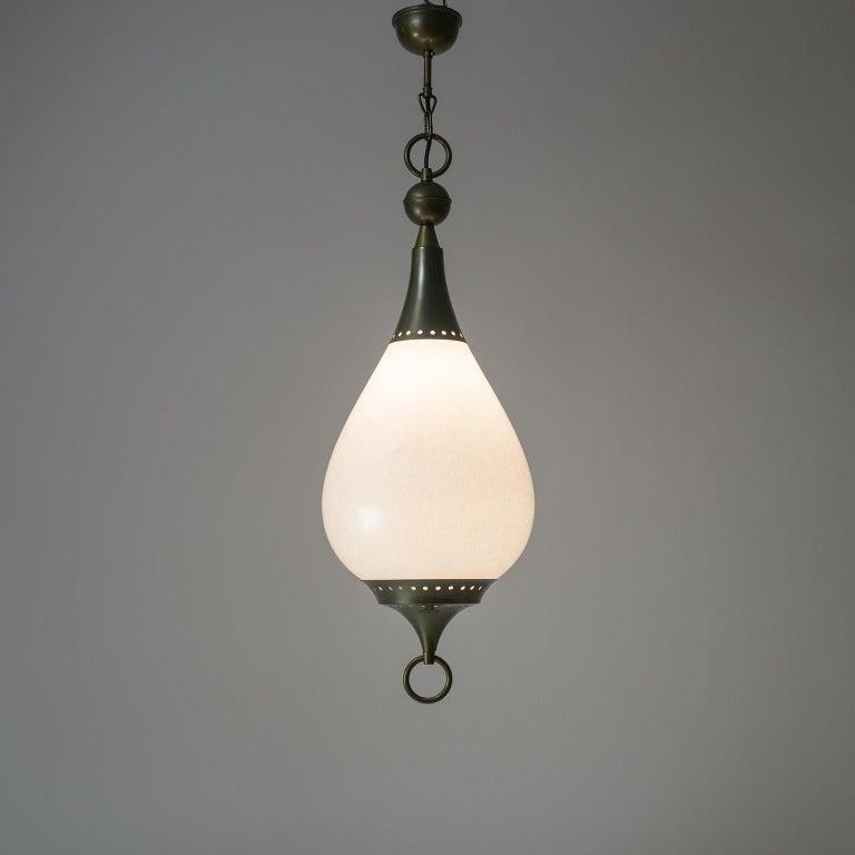 Large Italian Murano Glass and Brass Pendant, circa 1960 For Sale 10