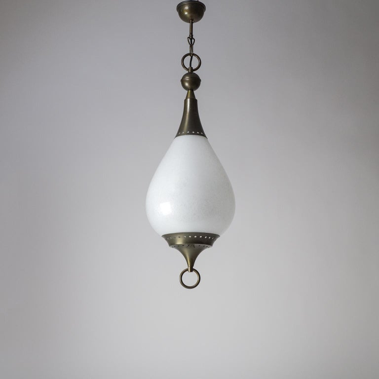 Large Italian Murano Glass and Brass Pendant, circa 1960 For Sale 11