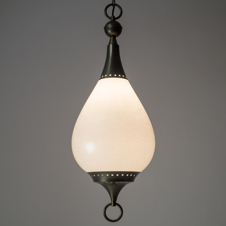 Patinated Large Italian Murano Glass and Brass Pendant, circa 1960 For Sale