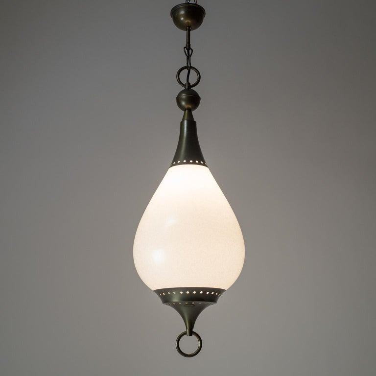 Large Italian Murano Glass and Brass Pendant, circa 1960 In Good Condition For Sale In Vienna, AT