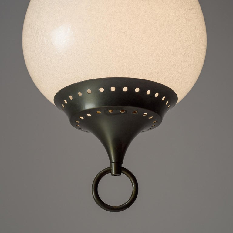 Mid-20th Century Large Italian Murano Glass and Brass Pendant, circa 1960 For Sale