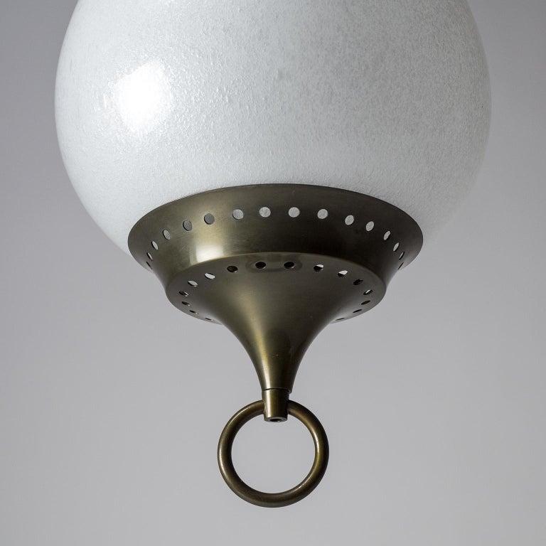 Large Italian Murano Glass and Brass Pendant, circa 1960 For Sale 3