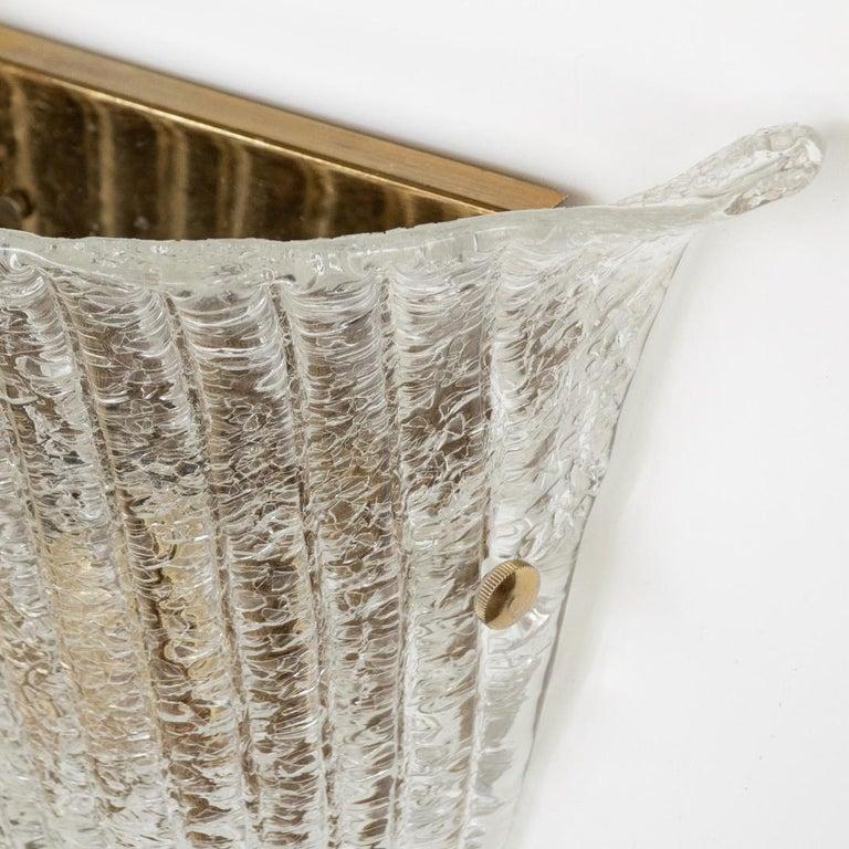 Brass Large Italian Murano Glass Sconce