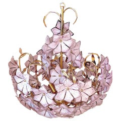 Large Italian Murano Pink Flower Bouquet Art Glass and Gilt Brass Chandelier