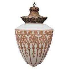 Large Italian Murano Style Hanging Gold Painted Pendant Lamp