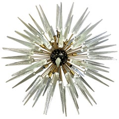 Large Italian Murano / Venetian Clear Glass Sputnik Spike Chandelier