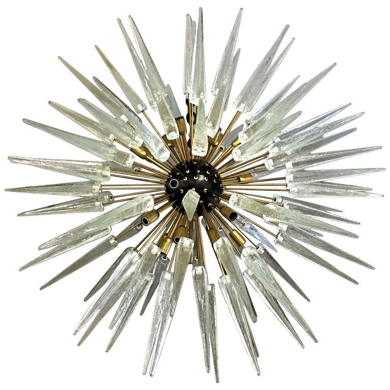 Large Italian Murano / Venetian Clear Glass Sputnik Spike Chandelier For Sale