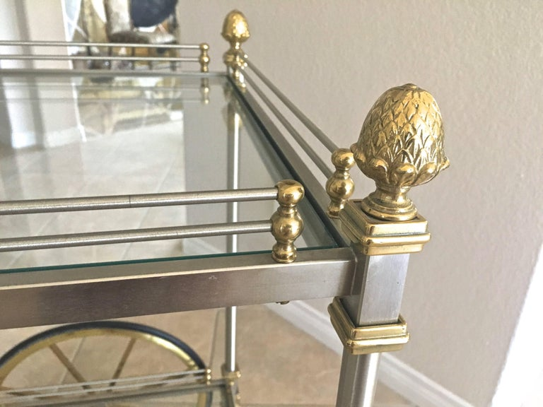 Large Italian Neoclassic Brass and Brushed Steel Bar or Tea Cart For Sale 6