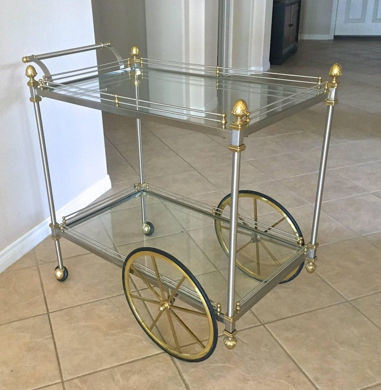 Large Italian Neoclassic Brass and Brushed Steel Bar or Tea Cart For Sale 8