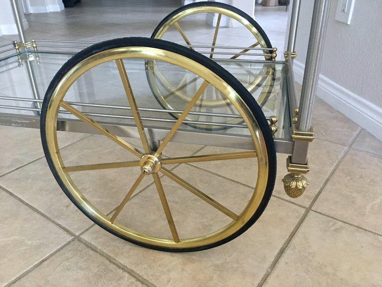 Large Italian Neoclassic Brass and Brushed Steel Bar or Tea Cart For Sale 10