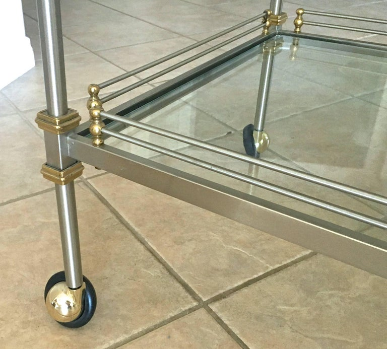 Large Italian Neoclassic Brass and Brushed Steel Bar or Tea Cart For Sale 11