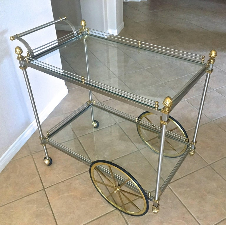 Large Italian Neoclassic Brass and Brushed Steel Bar or Tea Cart For Sale 12