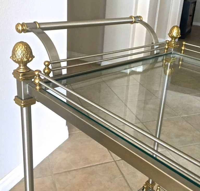 Large Italian Neoclassic Brass and Brushed Steel Bar or Tea Cart For Sale 13