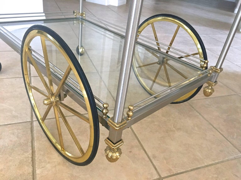 Large Italian Neoclassic Brass and Brushed Steel Bar or Tea Cart For Sale 14