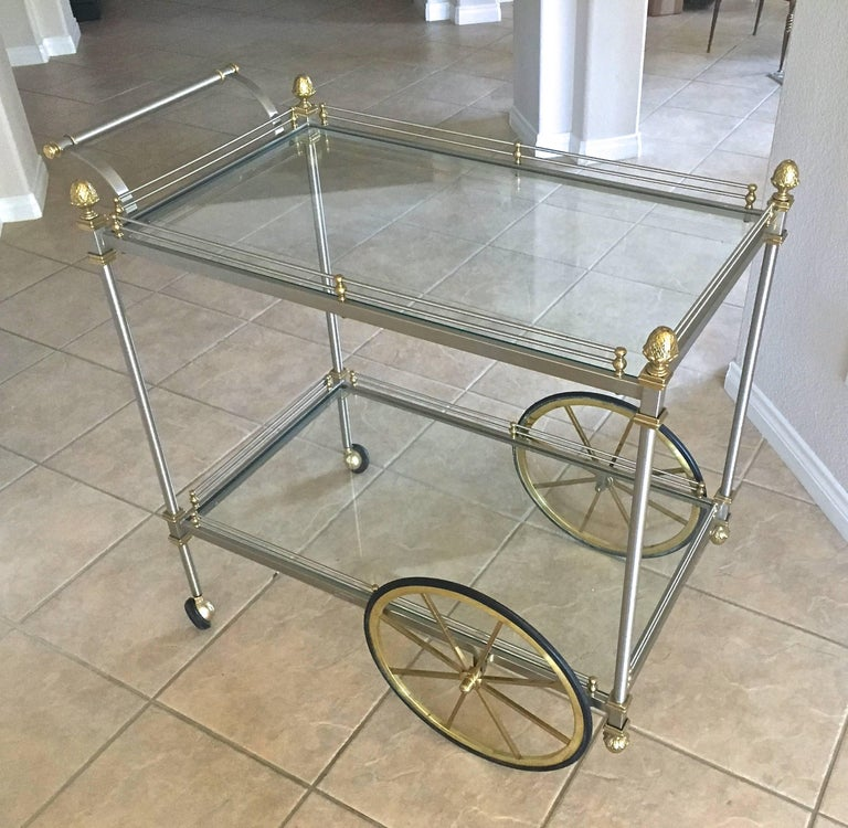 Large Italian Neoclassic Brass and Brushed Steel Bar or Tea Cart For Sale 15