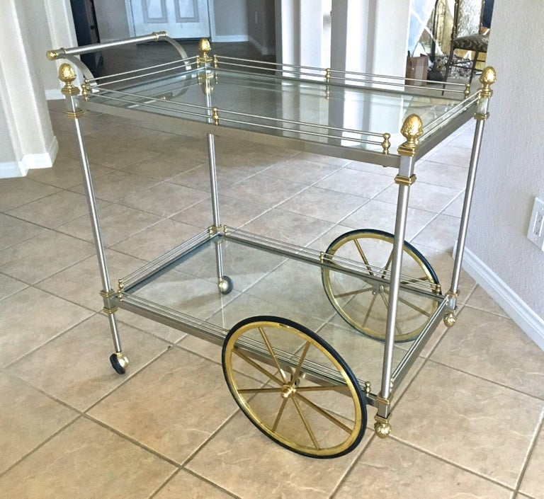 Large Italian Neoclassic Brass and Brushed Steel Bar or Tea Cart For Sale 16