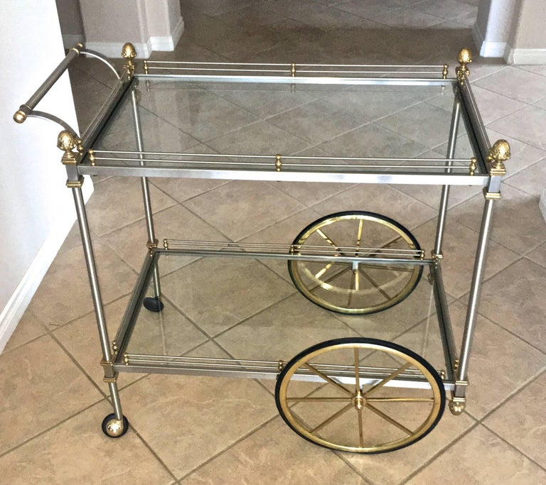 Large Italian Neoclassic Brass and Brushed Steel Bar or Tea Cart In Good Condition For Sale In Palm Springs, CA