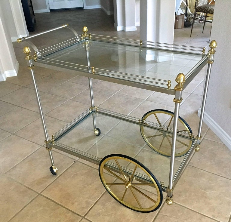 Mid-20th Century Large Italian Neoclassic Brass and Brushed Steel Bar or Tea Cart For Sale
