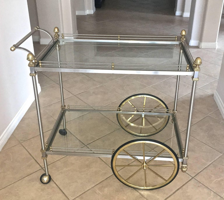 Large Italian Neoclassic Brass and Brushed Steel Bar or Tea Cart For Sale 1