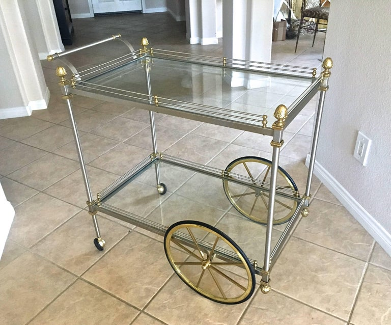 Large Italian Neoclassic Brass and Brushed Steel Bar or Tea Cart For Sale 2
