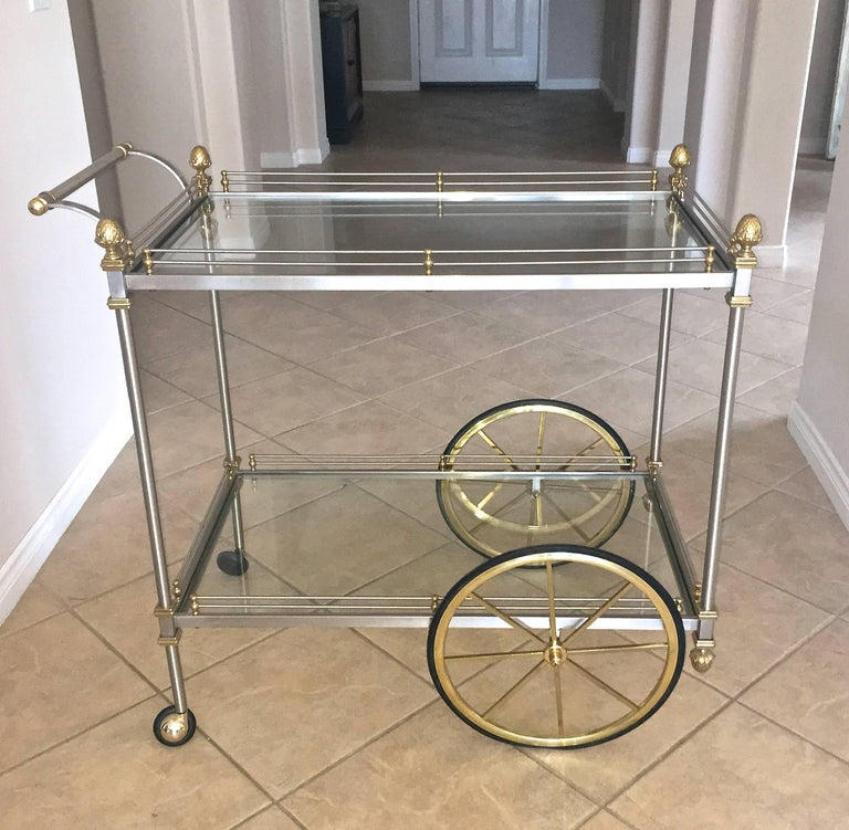 Large Italian Neoclassic Brass and Brushed Steel Bar or Tea Cart For Sale 3