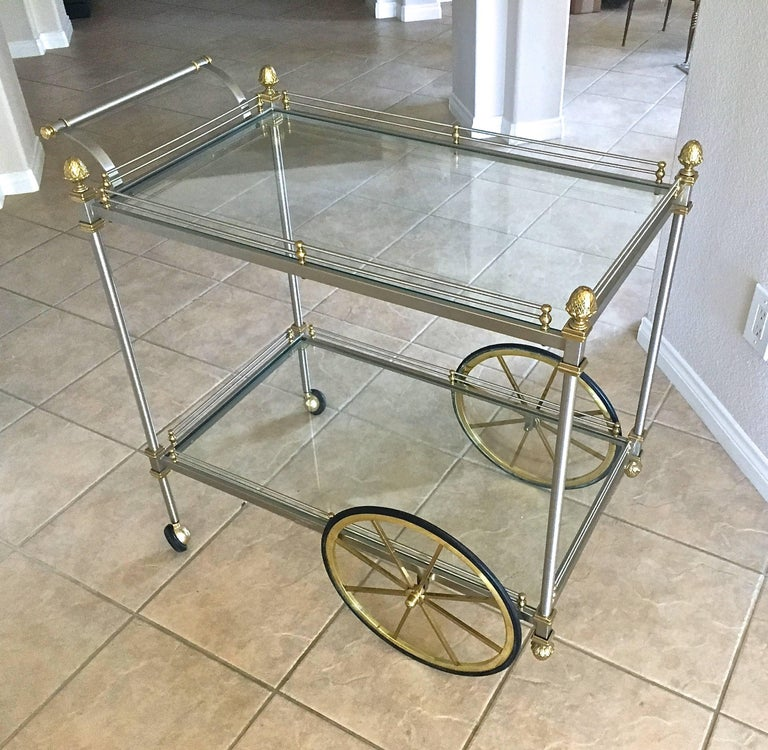 Large Italian Neoclassic Brass and Brushed Steel Bar or Tea Cart For Sale 4