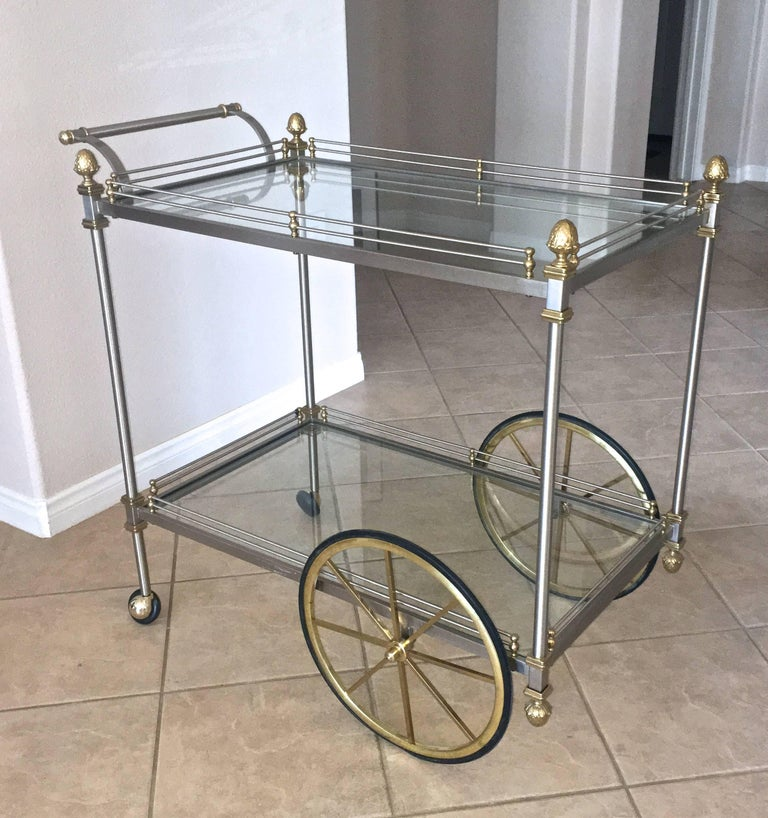 Large Italian Neoclassic Brass and Brushed Steel Bar or Tea Cart For Sale 5