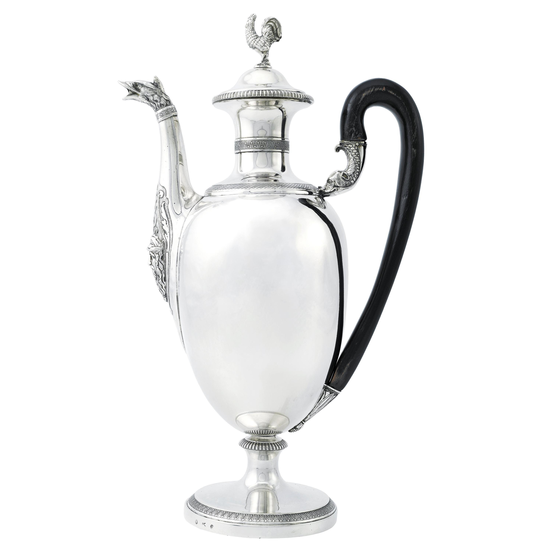 Large Italian Neoclassic Sterling Silver Coffee Pot, Circa 1830