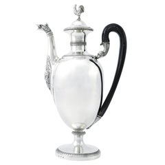Large Italian Neoclassic Sterling Silver Coffee Pot, Circa 1830