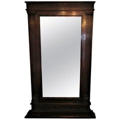 Large Italian Neoclassical 19th Century Carved Walnut Mantel Pier Mirror