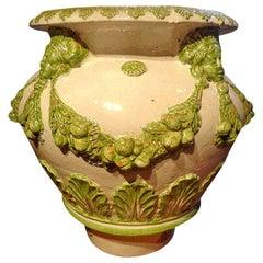 Large Italian Neoclassical Style Glazed Terracotta Urn