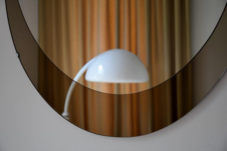 Large Italian Oval Mid-Century Modern Mirror by Cristal Arte In Good Condition For Sale In Weesp, NL