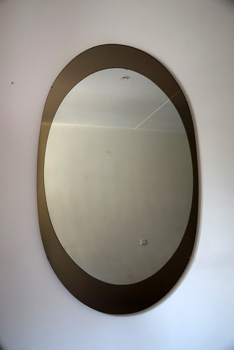 Glass Large Italian Oval Mid-Century Modern Mirror by Cristal Arte For Sale