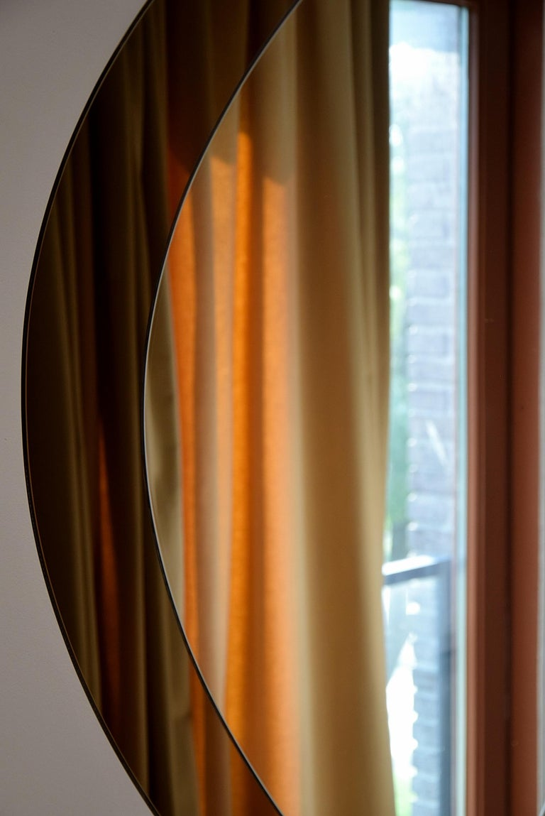 Large Italian Oval Mid-Century Modern Mirror by Cristal Arte For Sale 2