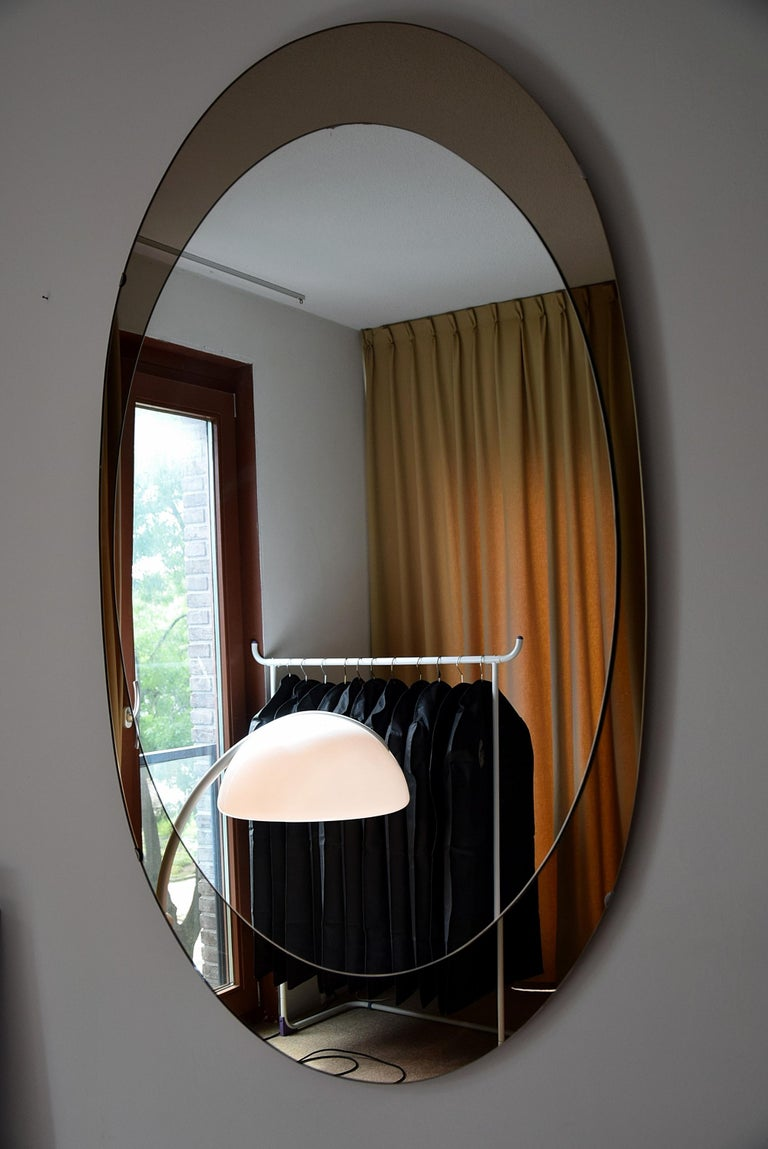 Large Italian Oval Mid-Century Modern Mirror by Cristal Arte For Sale 4