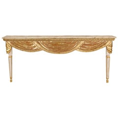 Large Italian Painted and Parcel-Gilt Wall Mount Console Table