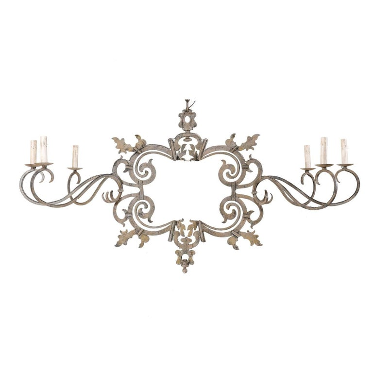 Large Italian Painted Iron Chandelier with 18th Century Scrolling Iron Work