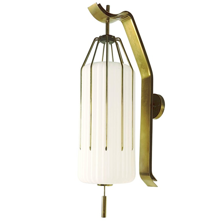Large Italian Painted Metal, Brass and Opaline Glass 1950s Sconce by Arredoluce
