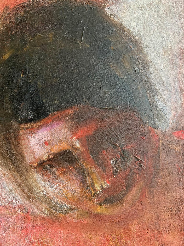 Mid-Century Modern Large Italian Painting, Oil on Canvas of a Reclining Nude, circa 1970's For Sale