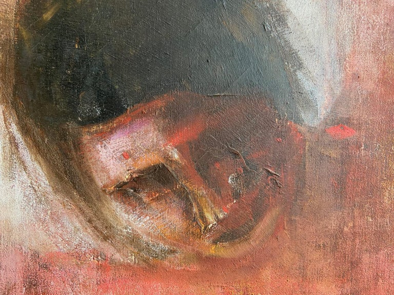 Large Italian Painting, Oil on Canvas of a Reclining Nude, circa 1970's For Sale 4
