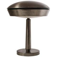 Large Italian Patinated Brass Table Lamp, circa 1960