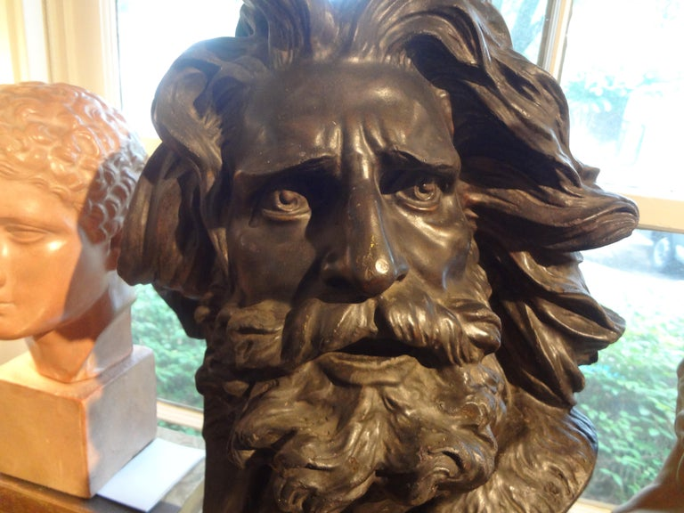 Stunning large French patinated plaster bust sculpture after Francois Rude's